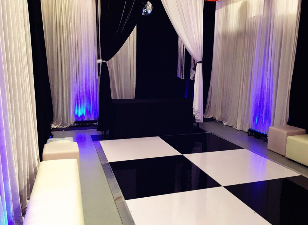 Black and white themed party room.
